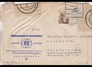 Französische Zone: Brief von Bad Neuenahr nach Wülfrath: Beschädigt eingegangen