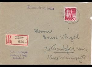 Französische Zone: Einschreiben von Freiburg nach Frankfurt/Main 1949