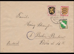 Französische Zone: Brief aus Neustadt Haardt nach Berlin 1946