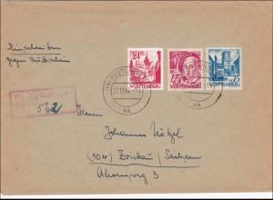 Französische Zone: Einschreiben aus Reutlingen nach Zwickau 1947