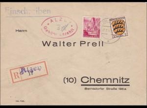 Französische Zone: Einschreiben aus Alzey - Gebühr bezahlt - nach Chemnitz 1948