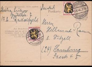 Französische Zone: Postkarte aus Radolfzell 1946 nach Hamburg