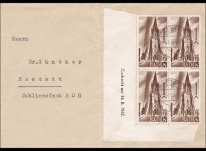 Französische Zone: Rastatt - Eckrand Viererblock !!! Druckdatum 14.8.1947