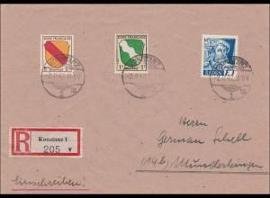 Französische Zone: Einschreiben von Konstanz nach Munderkingen 1947