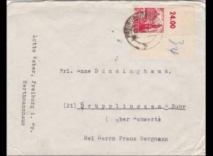 Französische Zone: Brief von Freiburg 1947 nach Drüpplingsen - ECKRAND