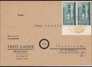 Französische Zone: Brief aus Ebingen nach Überlingen 1949