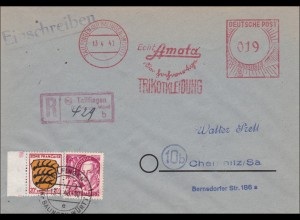 Tailfingen/Balingen nach Chemnitz-Amata-Trikotkleidung-Freistempel 1948