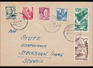 Französische Zone: Brief aus Sigmaringen nach Steckborn - Schweiz 1947