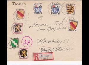 Französische Zone: Einschreiben von Püttlingen nach Hamburg 1946