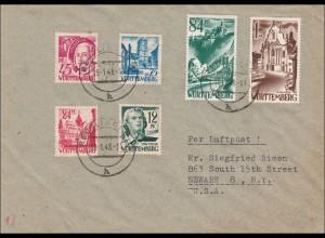 Französische Zone: Brief aus Reutlingen nach USA 1948