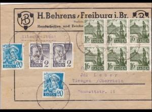 Französische Zone: Paket Ausschnitt von Freiburg nach Tiengen
