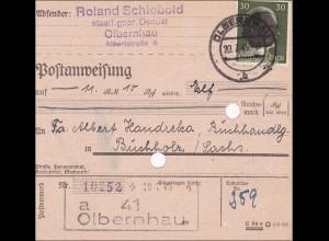 SBZ: Postanweisung Olbernhau nach Buchholz/Sachsen 1945
