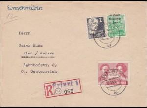 SBZ: Einschreiben Erfurt nach Ried/Innkreis 1949