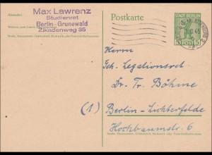 SBZ: Ganzsache P1 von Grundewald nach Lichtenfelde 1945