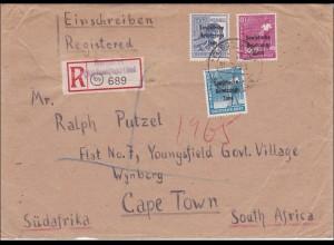 SBZ: Einschreiben Neuendorf Vogtland 1948 nach Süd Afrika - Cape Town
