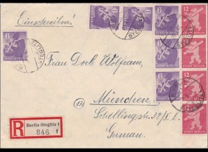 SBZ: Einschreiben von Berlin Steglitz nach München 1945