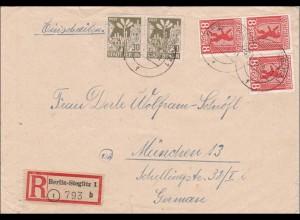 SBZ: Einschreiben aus Steglitz/Berlin nach München 1945