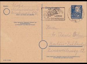 SBZ: Ganzsache Magdeburg 1950 nach Berlin - Volksbühne Werbestempel, P36/03