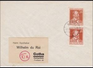 SBZ: Brief von Gera nach Gotha 1947