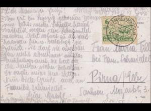 SBZ: Ansichtskarte Pirna a. d. Elbe/Sandhausen 1946