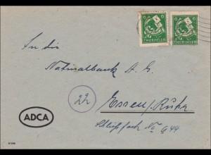 SBZ: Brief aus Greiz nach Essen 1945, linke Marke oben Rand gebrochen