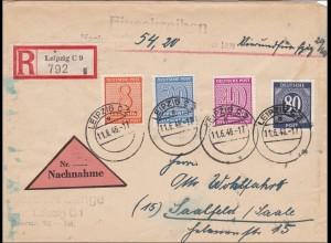 SBZ: Einschreiben aus Leipzig nach Saalfeld 1946