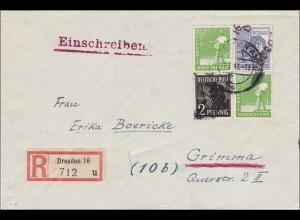 SBZ: Einschreiben aus Dresden nach Grimma 1948 - Handstempel