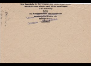 BiZone: Postscheckbrief von Kiel 1945 nach Hamburg
