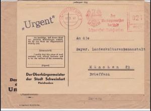BiZone: Brief Oberbürgermeister Schweinfurt nach München - Freistempel 1947