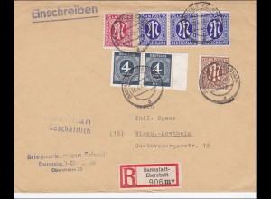 BiZone: Einschreiben aus Darmstadt-Eberstadt nach Wiesbaden-Kostheim 1946