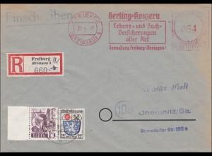 Einschreiben aus Freiburg nach Chemnitz - Gerling-Lebensversicherungen 1947