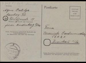 BiZone: Postkarte von Hamburg nach Zwickau 1945