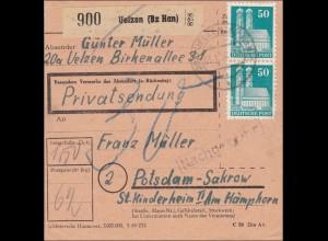 BiZone: Paketkarte aus Uelzen nach Postdam-Sakrow 1950, Nachgebühr