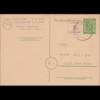 BiZone: Ganzsache P959 von Oberndorf nach Balje 1947