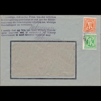 BiZone: Brief von Nürnberg /Eisenwerk 1946 mit Bestätigung