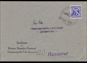 BiZone: Brief von Hameln-Pyrmont nach Hannover 1945 - III. Reich Stempel aptiert