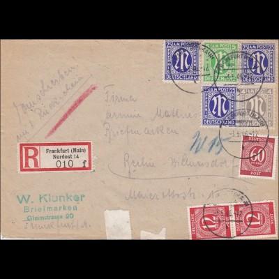 BiZone: Einschreiben von Frankfurt/Main Nordost nach Berlin 1949, 3x MiNr. 9
