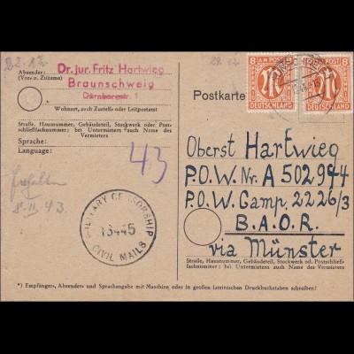 BiZone: Postkarte aus Braunschweig nach Münster- Militär Zensur 1946