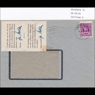 Brief von Nürnberg 1945 - Bestätigung