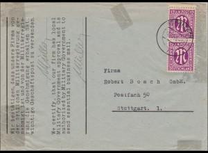 BiZone: Brief von Schwabach nach Stuttgart 1945
