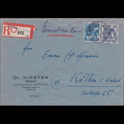 BiZone: Einschreiben aus Ansbach nach Köthen 1948