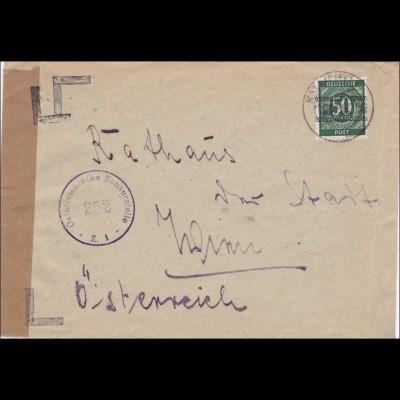 BiZone: Brief aus Kall/Eifel nach Wien Österreichische Zensur, MiNr. 66I