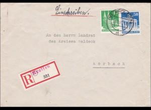 BiZone: Einschreiben aus Arolsen nach Korbach 1948
