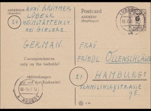 BiZone: Ganzsache P792 von Lübeck nach Hamburg 1945