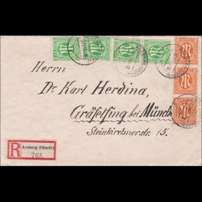 BiZone: Einschreiben Arzberg nach Gräfelfing 1945, MiNr. 5I