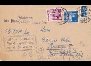 BiZone: Amtsgericht Hagen nach Bremen 1949