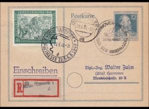 BiZone: Ganzsache - Postkarte - von Hannover 1948