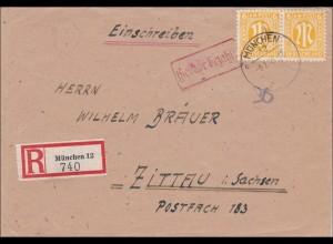 BiZone: Einschreiben aus München nach Zittau 1946 - Gebühr bezahlt