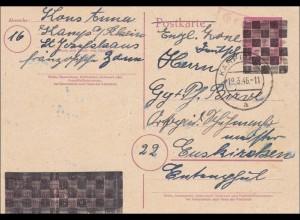 Ganzsache - Postkarte 1946 von Kamp/Rhein nach Euskirchen - Gebühr bezahlt