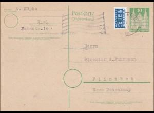 BiZone: Ganzsache von Kiel nach Flintbek 1950